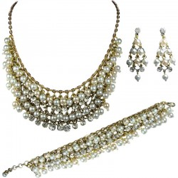 Faux Pearl Diamante Gold Plated Statement Fashion Jewelry Set, Costume Pearl Jewellery Sets Necklace Bracelet and Earrings