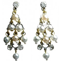 Mixed Pearl Diamante Chandelier Gold Drop Earrings