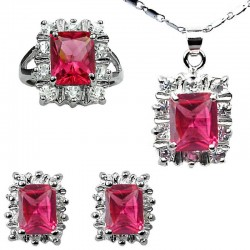 Women Costume Jewelry Set, Fashion Matching Jewellery Sets, Hot Pink Rectangle Halo Cluster Pendant Necklace Earrings Ring Set