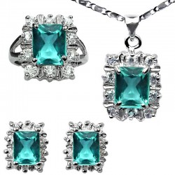Fashion Women Jewellery Sets, Matching Costume Jewelry Set UK, Blue Rectangle Halo Cluster Pendant Necklace Earrings Ring Set