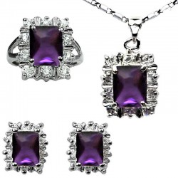 Matching Costume Jewellery Sets, Women Fashion Jewelry Set UK, Purple Rectangle Halo Cluster Pendant Necklace Earrings Ring Set