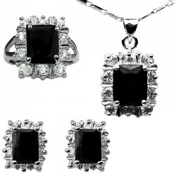 Fashion Women Jewellery Sets, Costume Jewelry Sets UK, Black Rectangle Halo Cluster Pendant Necklace Earrings Ring Set