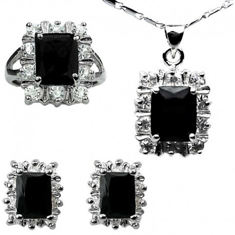 Fashion Women Jewellery Sets Costume Jewelry Sets UK Black Rectangle Halo Cluster Pendant Necklace  sc 1 st  Fashion Jewellery Online : costume jewelry set  - Germanpascual.Com