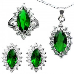 Fashion Jewelry Sets UK, Costume Jewellery Set, Emerald Green Marquise Teardrop Halo Cluster Pendant Necklace Earrings Ring Set