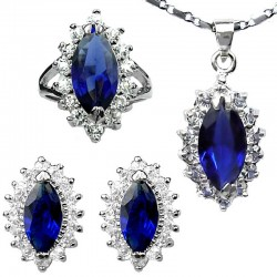 Costume Jewellery Set, Fashion Jewelry Sets UK, Royal Blue Marquise Teardrop Halo Cluster Pendant Necklace Earrings Ring Set