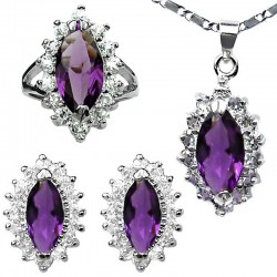 Purple Fashion Jewellery Sets, Women Costume Jewellery Set, Marquise Teardrop Halo Cluster Pendant Necklace Earrings Ring Set
