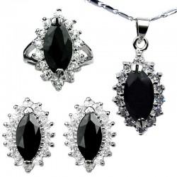Black Costume Jewellery Sets, Women Fashion Jewelry Set UK, Marquise Teardrop Halo Cluster Pendant Necklace Earrings Ring Sets
