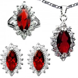 Red Fashion Jewellery Sets, Costume Jewelry Set, Women Gift, Marquise Teardrop Halo Cluster Pendant Necklace Earrings Ring Sets