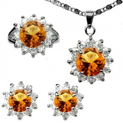 Amber Brown Fashion Jewellery Gift Sets, Costume Jewelry Set, Round Halo Cluster Pendant Necklace Earrings Ring Set
