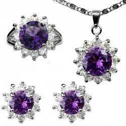 Fashion Women Gifts, Purple Jewellery Sets, Costume Jewelry Sets UK, Round Halo Cluster Pendant Necklace Earrings Ring Set
