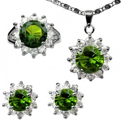 Green Costume Jewellery Sets. Fashion Jewelry Sets UK, Women Gifts, Round Halo Cluster Pendant Necklace Earrings Ring Set
