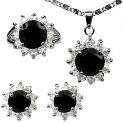 Fashion Black Jewellery Sets, Costume Jewelry Sets, Women Gifts, Round Halo Cluster Pendant Necklace Earrings Ring Set