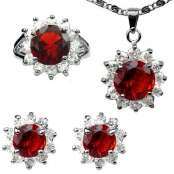 Fashion Red Jewellery Sets, Costume Jewelry Set UK, Women Gifts, Round Halo Cluster Pendant Necklace Earrings Ring Sets