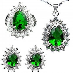 Emerald Green Costume Jewellery Sets, Women Fashion Jewelry Set UK, Teardrop Halo Cluster Pendant Necklace Earrings Ring Sets