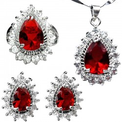 Red Jewellery Sets, Costume Jewelry Sets UK, Fashion Women Gifts Teardrop Halo Cluster Pendant Necklace Earrings Ring Sets