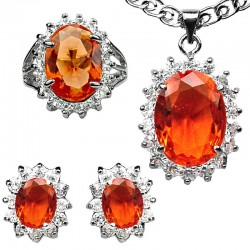 Orange Fashion Jewelry Sets UK, Costume Jewellery Set, Women Girls Gifts, Oval Halo Cluster Pendant Necklace Earrings Ring Sets
