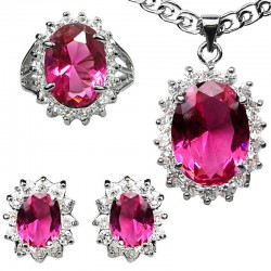 Hot Pink Oval Halo Cluster Pendant Necklace Earrings Ring Jewellery Set