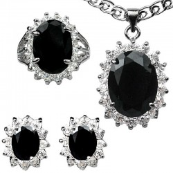 Black Oval Halo Cluster Pendant Necklace Earrings Ring Jewellery Set