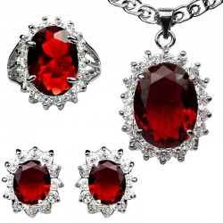 Fashion Red Jewellery Sets, Costume Jewellery Set UK, Women Gifts, Oval Halo Cluster Pendant Necklace Earrings Ring Sets