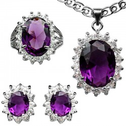 Fashion Purple Jewellery Sets, Costume Jewelry Set UK, Women Gifts, Oval Halo Cluster Pendant Necklace Earrings Ring Sets