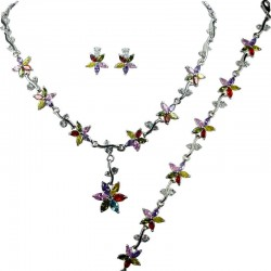 Multi Coloured Cubic Zirconia CZ Crystal Flower Dress Jewellery Necklace Earrings Bracelet Set