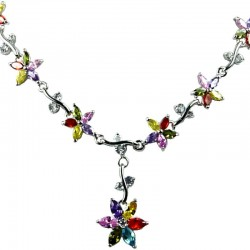 Bridal Costume Jewellery Necklaces, Fashion Wedding Gift, Multi Coloured Cubic Zirconia CZ Crystal Flower Dress Necklace