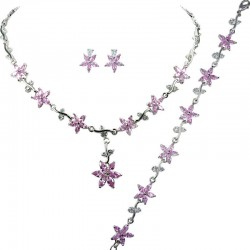 Pink Cubic Zirconia CZ Crystal Flower Dress Jewellery Necklace Earrings Bracelet Set
