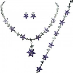 Purple Cubic Zirconia CZ Crystal Flower Dress Jewellery Necklace Earrings Bracelet Set