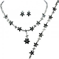 Black Cubic Zirconia CZ Crystal Flower Dress Jewellery Necklace Earrings Bracelet Set