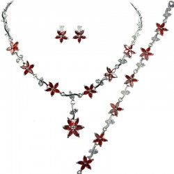 Red Cubic Zirconia CZ Crystal Flower Dress Jewellery Necklace Earrings Bracelet Set
