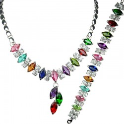 Multi Coloured Teardrop Rhinestone Clear Diamante Dress Jewellery Necklace Bracelet Set