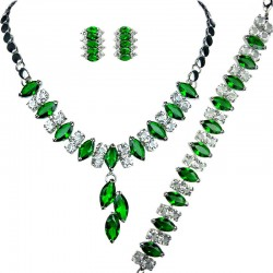 Emerald GreenFashion Costume Jewelry Sets UK, Teardrop Rhinestone Clear Diamante Dress Jewellery Necklace Bracelet Earrings Set