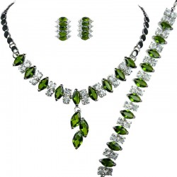 Green Costume Jewelry Sets UK, Fashion Gifts, Teardrop Rhinestone Clear Diamante Dress Jewellery Necklace Bracelet Earrings Set