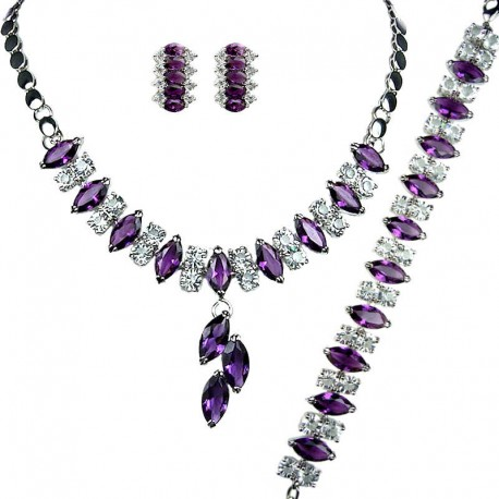 Costume Purple Jewelry Sets, Fashion Gifts, Teardrop Rhinestone Clear Diamante Dress Jewellery Necklace Bracelet Earrings Set