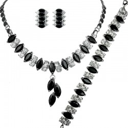 Black Teardrop Rhinestone Clear Diamante Dress Jewellery Necklace Bracelet Earrings Set