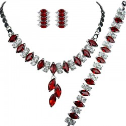 Red Costume Jewelry Sets, Fashion Gifts, Teardrop Rhinestone Clear Diamante Dress Jewellery Necklace Bracelet Earrings Set