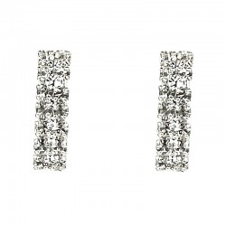 Fashion Jewelry UK, Women's Costume Jewellery, Simple Small Drop Earrings, Clear Diamante Simple Double Row Earrings