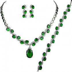 Costume Jewellery Sets, Wedding Fashion Jewelry UK, Green Oval Rhinestone Diamante Jewellery Necklace Bracelet Earrings Set