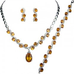 Amber Brown Oval Rhinestone Clear Diamante Dress Jewellery Necklace Bracelet Earrings Set