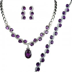 Purple Oval Rhinestone Clear Diamante Dress Jewellery Necklace Bracelet Earrings Set