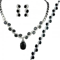 Black Oval Rhinestone Clear Diamante Dress Jewellery Necklace Bracelet Earrings Set