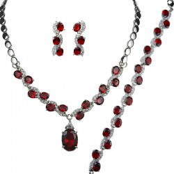 Ruby Red Oval Rhinestone Clear Diamante Dress Jewellery Necklace Bracelet Earrings Set
