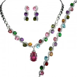 Multi Colour Oval Rhinestone Clear Diamante Dress Jewellery Necklace Bracelet Earrings Set
