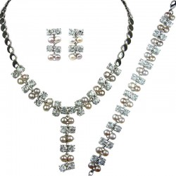 Multi Coloured Pearl Clear Diamante Dress Jewellery Necklace Bracelet Earrings Set