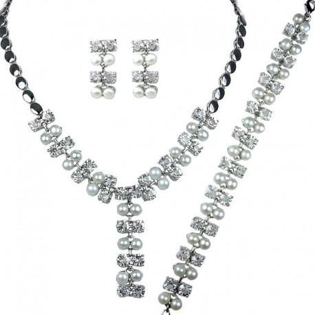 Fashion Pearl Jewellery Sets, Costume Pearl Jewelry UK, White Faux Pearl Diamante Dress Jewellery Necklace Bracelet Earrings Set