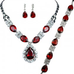 Red Teardrop Rhinestone Clear Diamante Dress Jewellery Necklace Bracelet Earrings Set