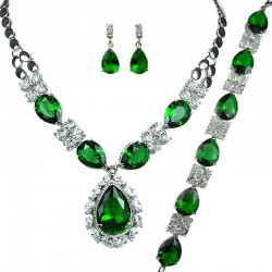 Green Teardrop Rhinestone Clear Diamante Dress Jewellery Necklace Bracelet Earrings Set