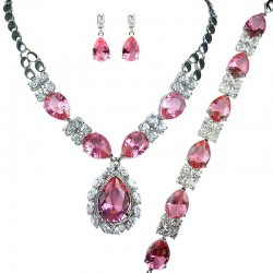 Pink Teardrop Rhinestone Clear Diamante Dress Jewellery Necklace Bracelet Earrings Set