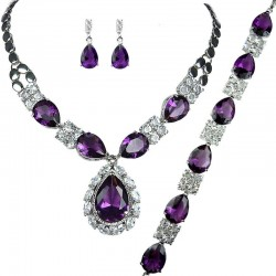 Purple Teardrop Rhinestone Clear Diamante Dress Jewellery Necklace Bracelet Earrings Set