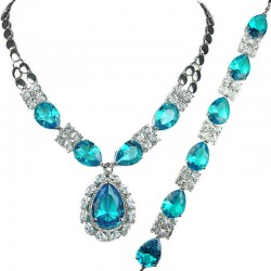 Blue Teardrop Rhinestone Clear Diamante Dress Jewellery Necklace Bracelet Set